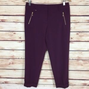 White House Black Market Cropped Pants Burgundy 2